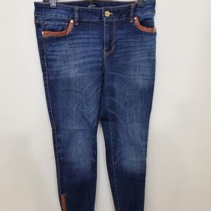 WHBM 'Skimmer' Skinny Leather Trim Jeans